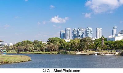 Tel Aviv City - Ayarkon River -Time Lapse, Pan Right