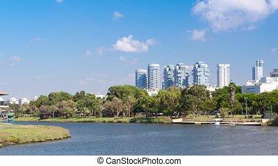 Tel Aviv City - Ayarkon River -Time Lapse, Pan Right