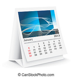 january 2013 desk calendar - 2013 desk calendar - vector...