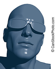 human head - plastic human head with sunglasses - 3d...