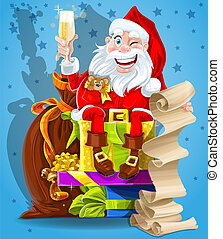 Cute Santa Claus with gifts and champagne