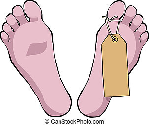 Feet with tag - Feet with a tag on a white background vector