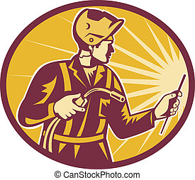 Welder Worker Welding Torch Retro - Illustration of welder...
