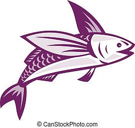 peixe, voando,  retro