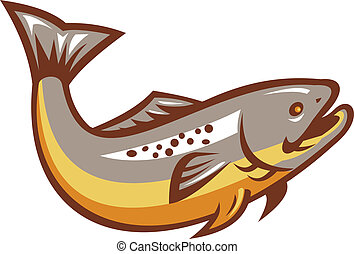 Trout Fish Jumping Retro - Illustration of a trout fish...