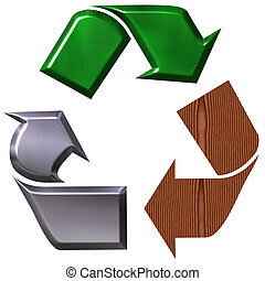 reciclaje, símbolo, árbol, elementos