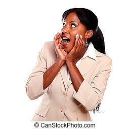 Charming businesswoman screaming and looking right -...