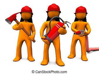 Fire Brigade - The fire brigade with axe, extinguisher and...