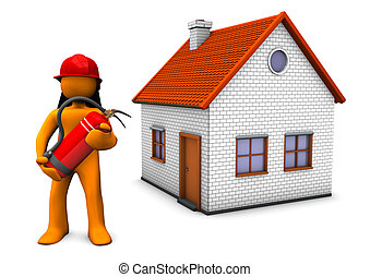 Fireman House - Fireman with red helmet and extinguisher and...