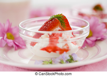 Sweet dessert - Delicious dessert with fresh ricotta and...