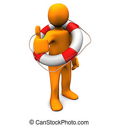 OK Lifeguard - Orange cartoon character as lifesaver with...