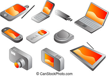 Electronic gadgets, vector clipart isometric style: pda...