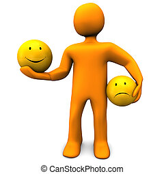 Cheerful And Sadly Mood - Orange cartoon character with...