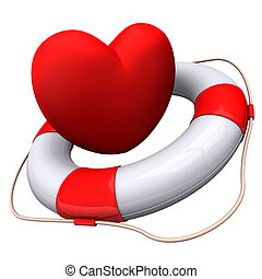 Heart Emergency - Red heart with lifebelt on the white...