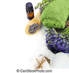 spa - lavender spa fresh lavender flowers, towel, essential...