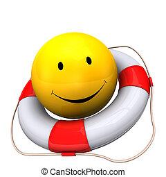 Lifebelt Yellow Smiley - Yellow smiley with lifebelt on the...