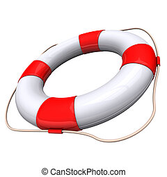Lifebelt with white and red colors on the white background.