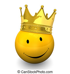 Smiley Golden Crown - Yellow smiley with golden crown, on...