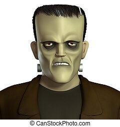 caricatura, verde, Frankenstein