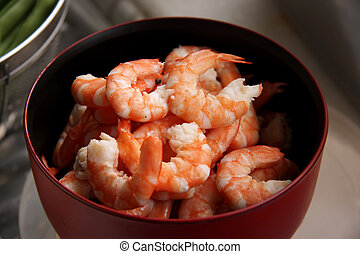 Cooked prawns - Whole fresh peeled cooked prawns in bowl