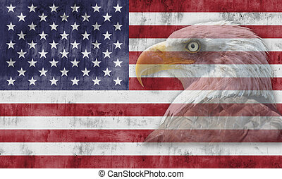 American flag and patriotic symbols - American flag with...
