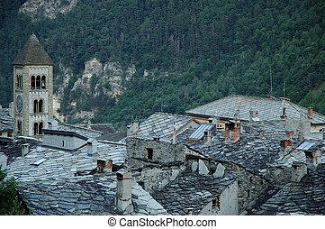 italiano, Piemont, -, plano, piedras, techos, Exilles
