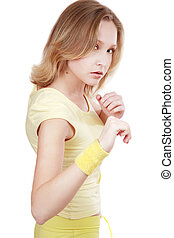 Tae-bo - Sportive blond girl in yellow fitness outfits...