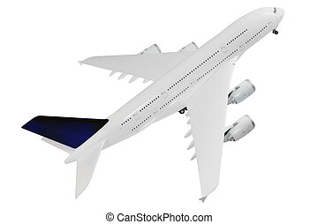 Modern airplane on white. - Modern airplane isolated on...
