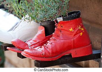 viejo, zapatos, procesado, Macetas