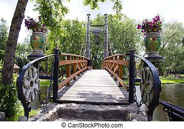 original river bridge in park - original design river bridge...