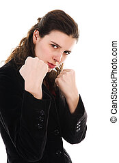 Fighting Woman - business woman on white getting into a...