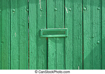 Grungy Letter Box - Vintage grungy letter box on green...