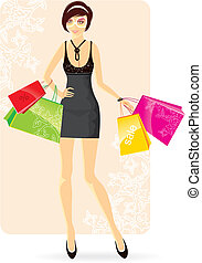 Shopping woman - Vector illustration of Shopping woman