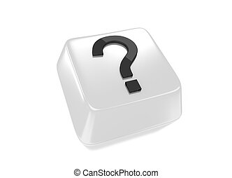Question mark in black on white computer key. Isolated background.