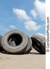 Recycling, heap of tires