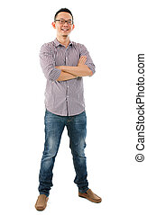 Casual Asian male - Full body casual Asian male standing...