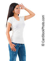 Looking away - Young Asian female shielding her eyes and...
