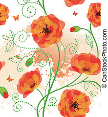 Red poppies back