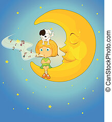 girl, dog and moon - illustration of a girl, dog and moon in...