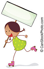 a girl with sign board - illustration of a girl with sign...