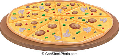 Pizza - illustration of pizza on a white background