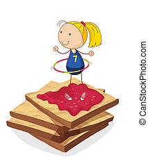 girl and bread - illustration of girl and bread on a white...