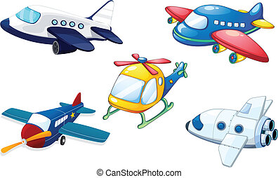 various air planes - illustration of various air planes on a...