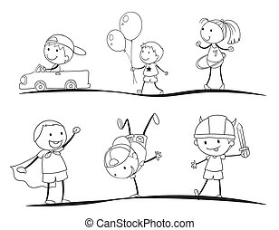 kids sketches - kids activity sketches on a white background