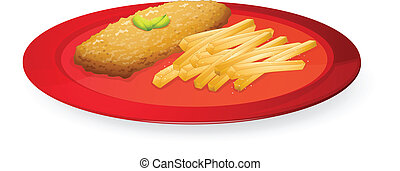 patice and french fries in plate - illustration of patice...