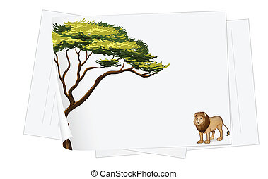 papers and lion drawing - illustration of a paper sheets and...