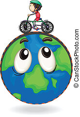 a boy riding on bicycle on earth globe