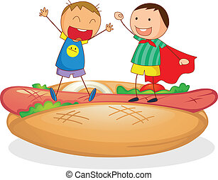 kids and sausages with bread - illustration of kids and...