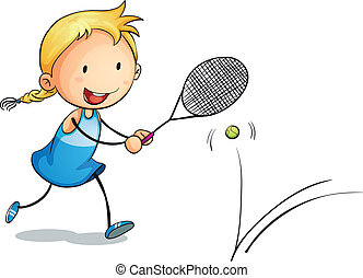 girl playing tennis - illustration of a girl playing tennis...