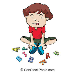 alphabets and boy - illustration of alphabets and boy on a...